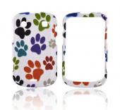 Blackberry Bold 9900, 9930 Rubberized Hard Case - Rainbow Paw Prints on White
