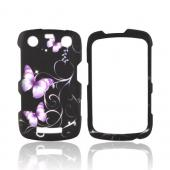 Blackberry Curve 9360/ Apollo Rubberized Hard Case - Purple Butterflies on Black