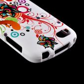 Autumn Floral Burst on White Rubberized Hard Case for Blackberry Q10