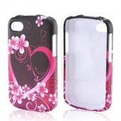 Hot Pink/ Purple Flowers & Hearts Rubberized Hard Case for Blackberry Q10