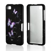Purple Butterflies on Black Rubberized Hard Case for Blackberry Z10