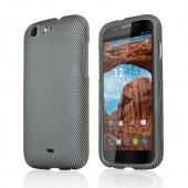 Gray/ Black Carbon Fiber Design Rubberized Hard Plastic Case for Blu Life One