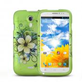 White Hawaiian Flowers on Green Rubberized Hard Plastic Case for Blu Studio 5.0
