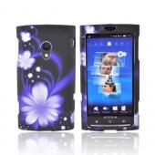 Sony Ericsson Xperia X10 Rubberized Hard Case - Purple Flower on Black