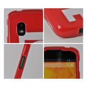 Red/ White Love Rubberized Hard Case for Google Nexus 4
