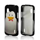 Black/ Silver Penguin w/ Bow Tie Rubberized Hard Case for Google Nexus 4
