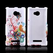 HTC 8X Rubberized Hard Case - Rainbow Autumn Flowers on White