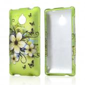White Hawaiian Flowers on Green Rubberized Hard Case for HTC 8XT