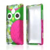 Hot Pink/ Green Owl Rubberized Hard Case for HTC 8XT