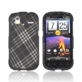 HTC Amaze 4G Rubberized Hard Case - Gray Plaid on Black