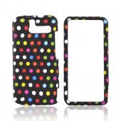 HTC Arrive Rubberized Hard Case - Rainbow Polka Dots on Black