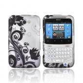 HTC Status Rubberized Hard Case - Black Vines & Flowers on Silver