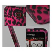Hot Rose Pink/ Black Leopard Rubberized Hard Plastic Case for HTC Droid DNA