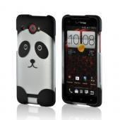 Black/ Silver Panda Rubberized Hard Case for HTC Droid DNA