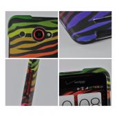 Rainbow Zebra on Black Rubberized Hard Case for HTC Droid DNA