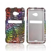 HTC EVO 4G LTE Rubberized Hard Case - Rainbow Animal Print