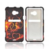 HTC EVO 4G LTE Rubberized Hard Case - Pink/ Gold Hearts on Espresso Brown