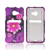 HTC EVO 4G LTE Rubberized Hard Case - Pink Divine Flower on Purple