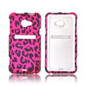 HTC EVO 4G LTE Rubberized Hard Case - Hot Pink/ Black Leopard
