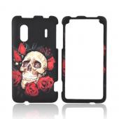 HTC EVO Design 4G Rubberized Hard Case - Skull & Roses on Black
