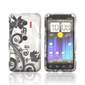 HTC EVO 3D Rubberized Hard Case - Black Vines & Flowers on Silver