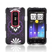 HTC EVO 3D Rubberized Hard Case - Purple/ Silver Flowers on Black