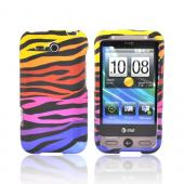 HTC FreeStyle Rubberized Hard Case - Rainbow Zebra on Black