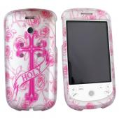T-Mobile MyTouch 3G Rubberized Hard Case - Pink Cross on Silver