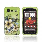 HTC Droid Incredible 2 Rubberized Hard Case - Hawaiian Flowers on Green