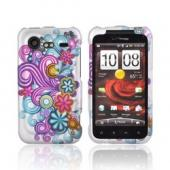 HTC Droid Incredible 2 Rubberized Hard Case - Purple/ Turquoise Flower Burst