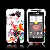 HTC Droid Incredible 4G LTE Rubberized Hard Case - Autumn Floral Burst on White