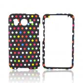 HTC Inpsire 4G Rubberized Hard Case - Colorful Polka Dots on Black