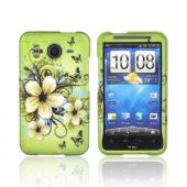 HTC Inspire 4G Rubberized Hard Case - White Hawaiian Flowers on Green