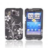 HTC Inspire 4G Rubberized Hard Case - Silver Flowers on Black