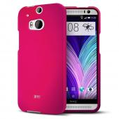 Hot Pink Rubberized Hard Case for HTC One (M8)