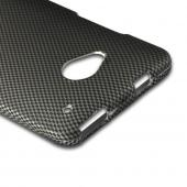 Black/ Gray Carbon Fiber Design Rubberized Hard Case for HTC One