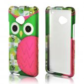 Hot Pink/ Green Owl Rubberized Hard Case for HTC One