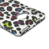 Rainbow Leopard on Silver Rubberized Hard Case for HTC One