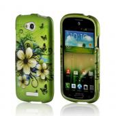 White Hawaiian Flowers on Green Rubberized Hard Case for HTC One VX