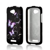 Purple Butterflies on Black Rubberized Hard Case for HTC One VX