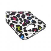 HTC One X Rubberized Hard Case - Colorful Leopard on Silver