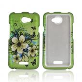 HTC One X Rubberized Hard Case - White Hawaiian Flowers on Green