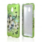 White Hawaiian Flowers on Green Rubberized Hard Case for HTC One Mini