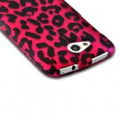 Hot Pink/ Black Leopard Rubberized Hard Case for HTC One VX