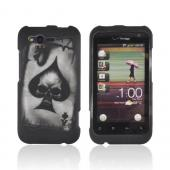 HTC Rhyme Rubberized Hard Case - Ace Spade Skull on Black