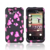 HTC Rhyme Rubberized Hard Case - Raining Pink Hearts on Black