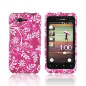 HTC Rhyme Rubberized Hard Case - White Leaves/ Flowers on Magenta