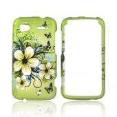 HTC Sensation 4G Rubberized Hard Case - Hawaiian Flowers on Green