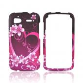 HTC Sensation 4G Rubberized Hard Case - Pink Hearts & Flowers