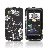 HTC Sensation 4G Rubberized Hard Case - White Flowers & Butterfly on Black
